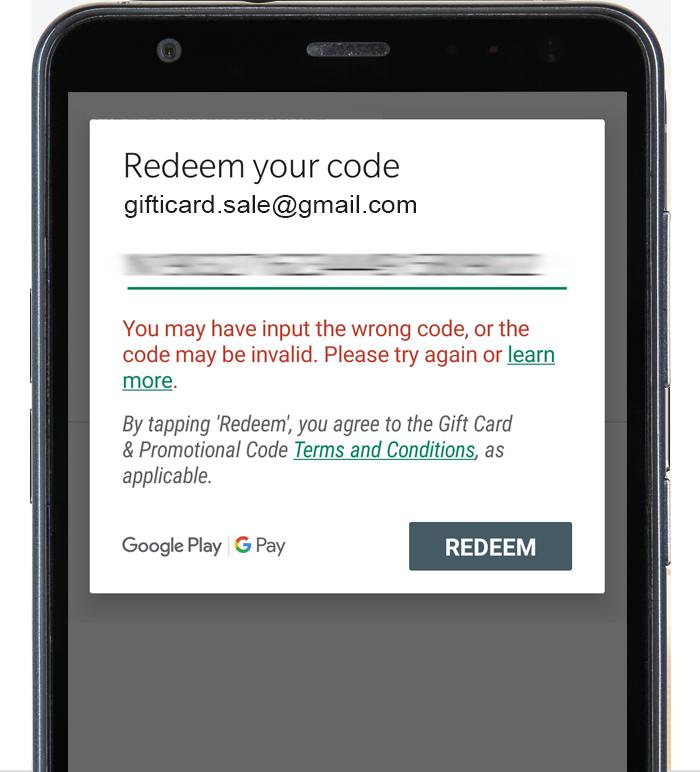 وارد کردن کد گیفت کارت گوگل پلی