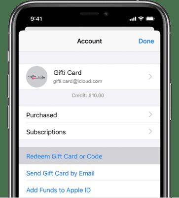 ردیم گیفت کارت اپل iOS 11 به بالا